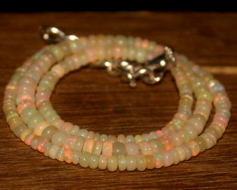 44 Crts Natural Ethiopian Welo Opal Beads Necklace 3435