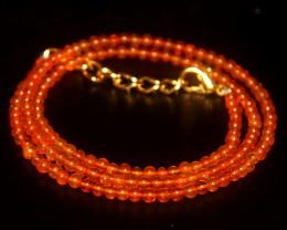 17 Crts Natural Ethiopian Welo Dyed Orange Opal Balls Necklace