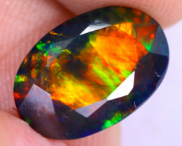 3.01cts Natural Ethiopian Welo Faceted Smoked Opal / NY2174