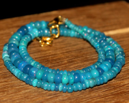 41 Crts Natural Welo Dyed Blue Opal Beads Necklace 156