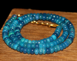 70 Crts Natural Welo Dyed Blue Opal Beads Necklace 160