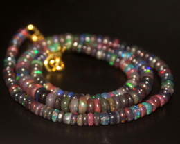54 Crts Natural Welo Smoked Opal Beads Necklace 159