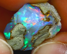 17.72Ct Multi Color Play Ethiopian Welo Opal Rough HF2321/R2