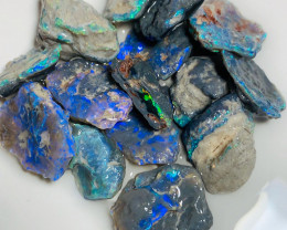 High Grade/ Select Semi Black Nobby Opals with Super Bright Colour Bars