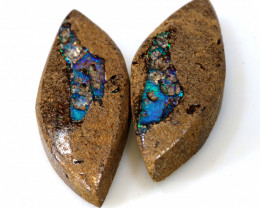 10.40 CTS BOULDER PIPE CRYSRTAL OPAL POLISHED STONE PAIR NC-9261