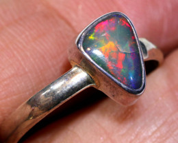 10.6 CTS DOUBLET OPAL SILVER RING    OF-791