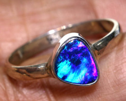 10.6 CTS  DOUBLET OPAL SILVER RING   OF-798