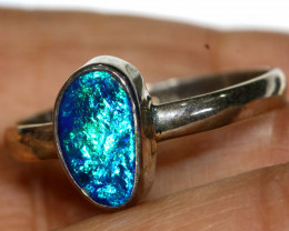 11.2 CTS  DOUBLET OPAL SILVER RING   OF-782