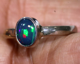 9.9 CTS    DOUBLET OPAL SILVER RING OF-786