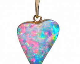 Australian Opal Doublet Heart Pendant 4.15ct 14k Jewelry Gift E06