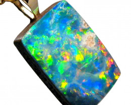 Australian Opal Doublet Pendant 4.5ct 14k Jewelry Gift E04