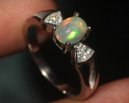 Natural Ethiopian Welo Fire 925 Sterling Silver Opal Ring  14