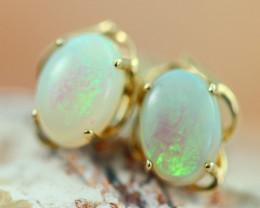 Cute Crystal  Opal set in 14k Yellow Gold Earring CK 548