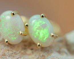 Cute Crystal  White Opal set in 14k Yellow Gold Earring CK 549