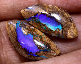 11.00 CTS BOULDER PIPE CRYSRTAL OPAL POLISHED STONE PAIR NC-9352