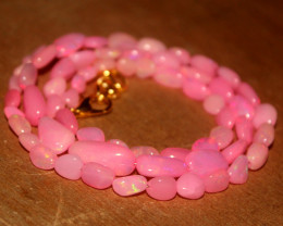 40 Crts Natural Dyed Pink Welo Opal Nuggets Necklace 164