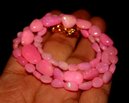 41 Crts Natural Dyed Pink Welo Opal Nuggets Necklace 162