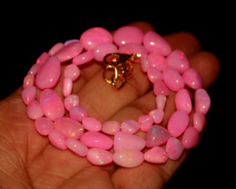 55 Crts Natural Dyed Pink Welo Opal Nuggets Necklace 161