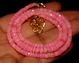 29 Crts Natural Dyed Pink Welo Faceted Opal Necklace 182