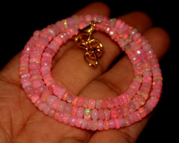 38 Crts Natural Dyed Pink Welo Faceted Opal Necklace 183