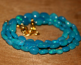 32 Crts Natural Dyed Blue Welo Opal Nuggets Necklace 188