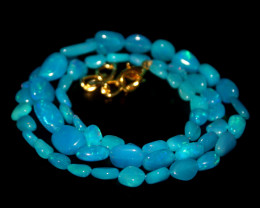 34 Crts Natural Dyed Blue Welo Opal Nuggets Necklace 196