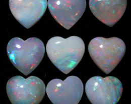 8 Cts Parcel  9 Heart  Shape Fire  Opals  code FO 1193