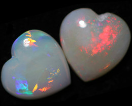 1.80 Cts Pair Heart  Shape Fire  Opals  code FO 1198