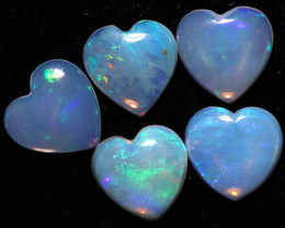 4.10 Cts Parcel  5 Heart  Shape Fire Crystal Opals  code FO 1204