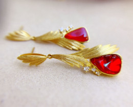 Mexico Natural Red Fire Opal 18K Gold Red Fire Opal Earrings Wedding Jewelr