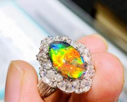 Top-Gem Australian Natural Solid 18K Gold Black Opal Diamonds Ring