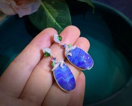 Australian Natural Boulder Opal 18K Gold Earrings Wedding Diamonds Jewelry