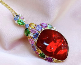 18K Gold Natural Mexican Collection Fire Opal Pendants. Wedding Necklace.