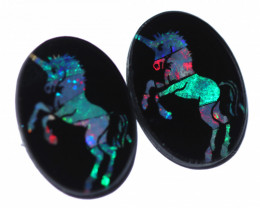 9 Cts Horse Design  Australian Opal Doublet Mosaic  FO 1302
