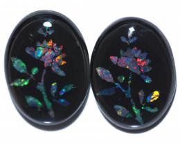 10 Cts Pair  Australian Opal Triplet Mosaics  FO 1306