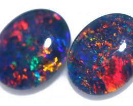 3.7 cts  Australian Triplet Opal Pair 10x8 mm   FO 1349