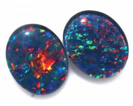 3.5 cts  Australian Triplet Opal Pair 10x8 mm   FO 1353