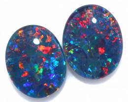 3.7 cts  Australian Triplet Opal Pair 10x8 mm   FO 1357