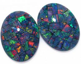 21 Cts Australian Pair Oval Opal Triplet Mosaic  FO 1371