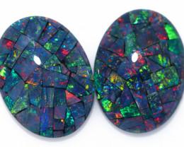 21 Cts Australian Pair Oval Opal Triplet Mosaic  FO 1372