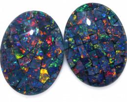 22 Cts Australian Pair Oval Opal Triplet Mosaic  FO 1373