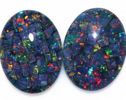 22 Cts Australian Pair Oval Opal Triplet Mosaic  FO 1374