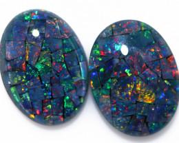 22 Cts Australian Pair Oval Opal Triplet Mosaic  FO 1377
