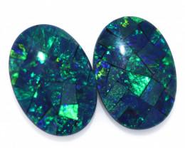8 Cts Australian Pair Oval Opal Triplet Mosaic  FO 1384