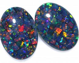 8 Cts Australian Pair Oval Opal Triplet Mosaic  FO 1386