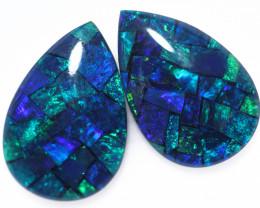 3.7 Cts Pair Australian Blue Pear Drop Opal Triplet Mosaic  FO 1405