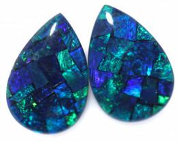 3.7 Cts Pair Australian Blue Pear Drop Opal Triplet Mosaic  FO 1406
