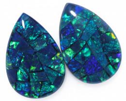3.7 Cts Pair Australian Green Pear Drop Opal Triplet Mosaic  FO 1420