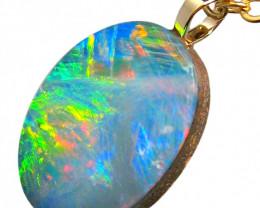 Australian Genuine Opal Pendant 14k Doublet RRP: $430! 3.95ct