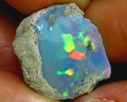 7.66Ct Multi Color Play Ethiopian Welo Opal Rough H1809/R2